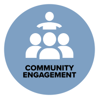 animated light blue circle with 4 outlines of people in white in the center of the circle. One person at the very top and 3 others in front standing in triangular form with the words community engagement underneath the people.