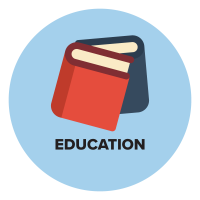 Animated light blue circle with two books in the center standing upright with the blue book behind the red book and the words Education underneath the books.